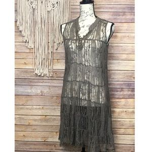 Free People | Brown Sheer Lace Flowy Midi Dress